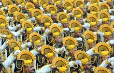 Indian Central Industrial Security Force personnel take part in the full dress rehearsal of Indian Republic Day parade in New Delhi.