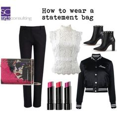 """""""How to wear a statement bag."""" By Margriet Roorda-Faber, Style Consulting. Stel, Planning, Shoe Bag, Polyvore, How To Wear, Stuff To Buy, Fashion Tips, Bags, Outfits"""