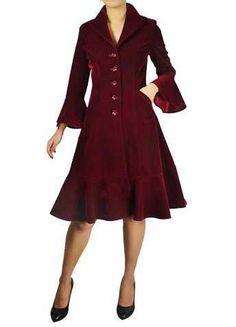 ❤victorian Vintage Style Velvet Coat Wing Collar Button Ruffles Burgundy Black❤ | eBay