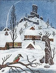 Prague, My Love: Happy Birthday, Josef Lada! Snow Scenes, Winter Scenes, Fairytale Fantasies, Naive Art, Illustrators, Folk Art, Fantasy Art, Illustration Art, Happy Birthday
