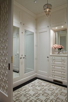 White & gold walk-in closet