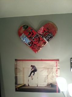 Broken skateboard wall decor