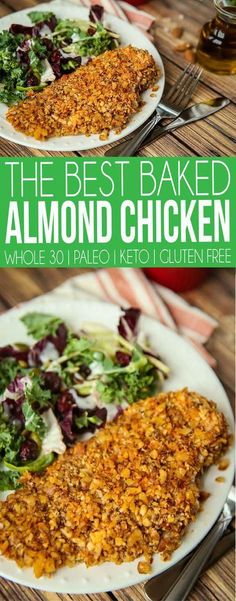 whole 30 recipes One of the best paleo almond chicken recipes ever! This Whole 30 almond chicken is easy to make, baked, healthy, and perfect with a salad! Or if you want - slice it up and make almond chicken tenders instead. Even works for a Keto diet! Chicken Salad Recipe With Almonds, Chicken Salad Recipes, Recipes With Almonds, Kohlrabi Recipes, Ketogenic Recipes, Paleo Recipes, Dinner Recipes, Breakfast Recipes, Dessert Recipes