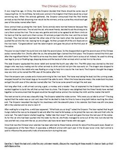 the chinese zodiac story reading comprehension worksheet elt resources english learning. Black Bedroom Furniture Sets. Home Design Ideas