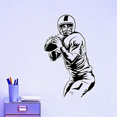 Football Player Wall Decal Vinyl Sticker Sport Wall Decor Home Interior Design Art Mural Boy Room Kids Nursery Bedroom Dorm Z745 WisdomDecalHouse http://www.amazon.com/dp/B00VCYSQPY/ref=cm_sw_r_pi_dp_KpLivb0CHA3RE