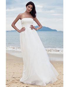 Simple Column Strapless Floor-length Chiffon Beach Wedding Dress   LynnBridal.com