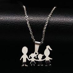 ママ女の子男の子人形ペンダントネックレス用子供ステンレス鋼のネックレスジュエリーネックレスクリスマスギフトcollares joyeria