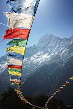 This is a picture of Tibet. It shows the scenery of Tibet with the religious flags and the snow mountains. I really like this picture because it expresses the spirit of Tibet. Tibet, as we all know, is the roof of the world with different landscapes and a Monte Everest, Laos, Places To Travel, Places To See, Prayer Flags, To Infinity And Beyond, Belle Photo, Wonders Of The World, Beautiful Places
