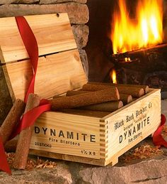 Replica dynamite box with fire starters gets people talking! Vintage style crate contains 20 sticks of what looks like dynamite, but is actually paraffin and sawdust fire starters. Makes a great gift! Fire Pit Gravel, Concrete Fire Pits, Fire Pit Backyard, Small Fire Pit, Easy Fire Pit, Sawdust Fire Starters, Porches, Fire Pit Australia, Fire Pit With Rocks