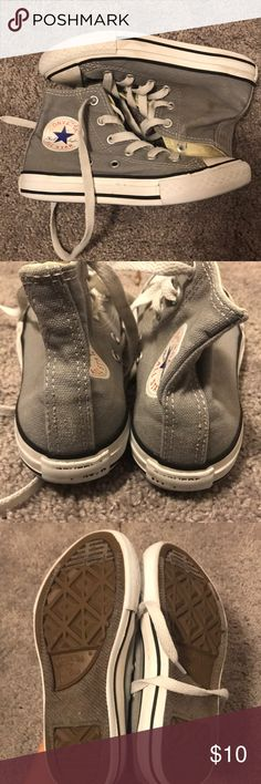 Grey Kids Converse High Tops Size 12 Gently used kids high top converse chuck Taylor sneakers. All signs of wear are pictured! Converse Shoes Sneakers