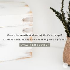 Even the smallest drop of God's strength is more than enough to cover my weak places. -Lysa TerKeurst