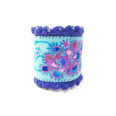 Embroidered Cuff Bracelet in a Paisley Pattern with by windyriver, $57.00