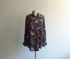 Vintage Abstract Silk Shirt. by SouvenirSouvenir on Etsy, $14.00