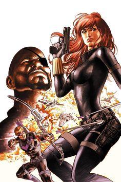Black Widow, Hawkeye & Nick Fury by Mike Deodato Jr.