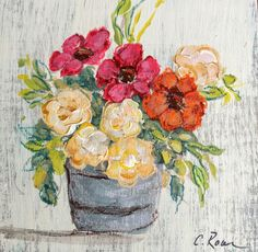 Floral acrylic and pastel on wood. By Carolyn Raar