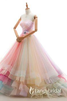 カラードレス プリンセス ピンク系 暖色系 レインボードレス ハートネック グラデーション お色直し 大人気デザイン JWLT15067-26-P