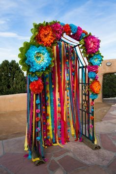 Ceremony arch and photo backdrop from our wedding! Mexican Birthday Parties, Mexican Fiesta Party, Fiesta Theme Party, Mexican Theme Baby Shower, Helloween Party, Mexican Themed Weddings, Mexican Party Decorations, Day Of The Dead Party, Quinceanera Party