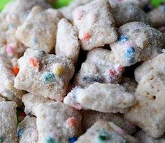 Cake Batter Puppy Chow  Ingredients: 1 bag white chocolate chips 1 box Rice Chex cereal , about 9 cups 1 cup powdered sugar 1 cup funfetti cake mix 1 tsp vanilla extract 1/2 cup butter 2-3 tablespoons colored sprinkles (optional)