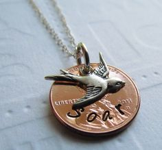 SOAR Lucky Penny Necklace Hand Stamped Jewelry Soaring Swallow Bird Charm Sterling Silver One Word Personalized For You Choose a Year.  via Etsy.
