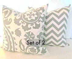 THROW PILLOWS Set Of 2 18x18 Decorative Throw Pillow Cover 18 x 18 chevron pillows Suzanni