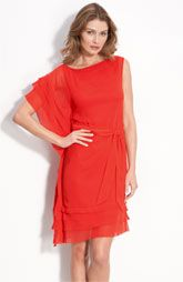 Vince Camuto Asymmetrical Layered Dress with Sash Tie
