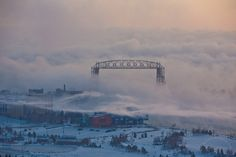 Cold morning at the Aerial Lift Bridge in Duluth.