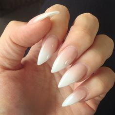 Ombré French stiletto nails More Luxury Beauty - winter nails - http://amzn.to/2lfafj4