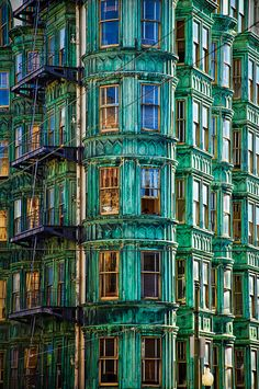 """Sentinel""-North Beach, San Francisco, CA by Brandon Doran Amazing Architecture, Architecture Details, Beautiful Buildings, Beautiful Places, Colourful Buildings, Amazing Places, Palette Verte, San Francisco Photography, San Fransisco"