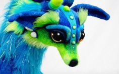 Hand dyed and needle felted life sized wolf dragon by kasey sorsby