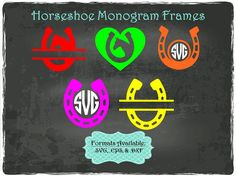 Horseshoe Monogram Frames in .SVG .EPS & .DXF by TheSVGFontStore