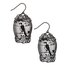ModCloth Vintage Inspired How the Caged Bird Swings Earrings ($13) ❤ liked on Polyvore featuring jewelry, earrings, accessories, bird, black, black metal jewelry, black metal earrings, bird earrings, filigree jewelry and kohl jewelry
