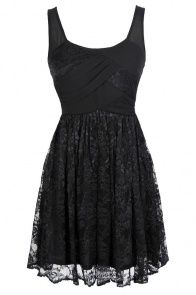 Tracy Chiffon and Lace Dress in Black