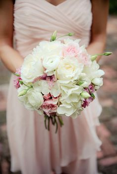 AK Brides - Wedding Planning Services;  Gorgeous bridesmaids bouquet in pink and ivory florals by Hot House Design Studio;  Allison Lewis Photography