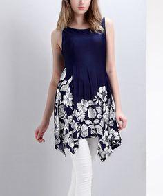Look at this #zulilyfind! Navy Floral Sleeveless Handkerchief Tunic #zulilyfinds