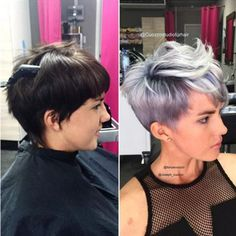 Short hair/pixie cut silver/white blonde with pastel purple/violet   *Expectations when going lighter. Fashion colors. Two lightening processes $220.