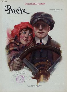 Puck magazine cover. January 2, 1915 Issue. Illustration by Rolf Armstrong (1889-1960). Puck was America's first successful humor magazine of colorful cartoons, caricatures and political satire of the issues of the day. It was published from 1871 until 1918.