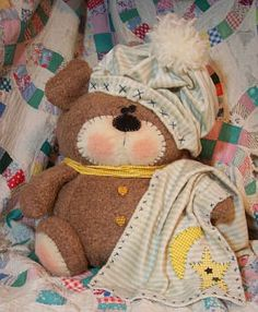 "Bedtime Bear  Instructions for the hat and blanket are included with this plump 16"" bear.  Cloth Doll Making Sewing Patterns by  Michelle Allen Raggedy Pants Folk Art Designs  Cloth Doll Patterns for Raggedies, FolkArt Whimsical Dolls, Snowmen, Critters and More!  Over 60 Original Designs!"