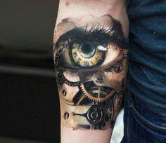 Mechanical Eye tattoo by Tymur Denysenko