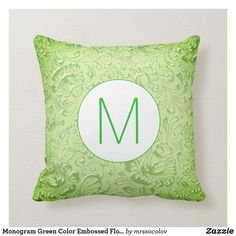 Monogram Green Color Embossed Floral Throw Pillow
