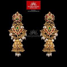 Gold Jewelry Kundan Gottupusalu Jhumkis - Earrings L : inches; W : inches Screw Type : Bombay Screw, Gold Jhumka Earrings, Buy Earrings, Jewelry Design Earrings, Gold Earrings Designs, Gold Jewellery Design, Gold Jewelry, Earrings Online, Handmade Jewellery, Antique Earrings