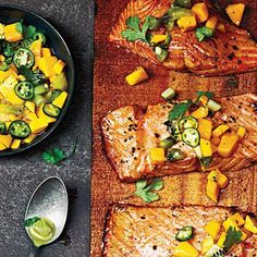 Mango is such a versatile fruit! You can have it by itself, in a dessert or as part of a savory dish like this one! Cedar Plank-Grilled Salmon with Mango Kiwi Salsa | Cookinglight.com
