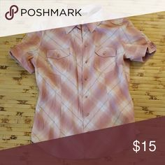 Short sleeve button down blouse Pink short sleeve button down. Slim fit New York & Company Tops Blouses