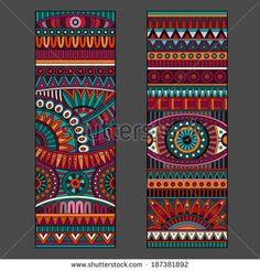 Illustration of Abstract decorative vector ethnic pattern cards set vector art, clipart and stock vectors. Mandala Art, Mandala Drawing, Madhubani Art, Madhubani Painting, Motifs Aztèques, Afrique Art, Art Premier, Dot Art Painting, Ethnic Patterns