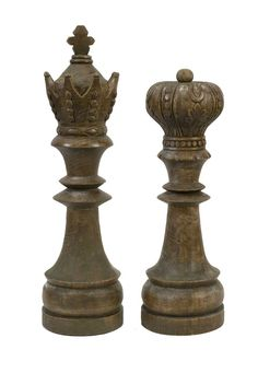 IMAX Windham Handcarved Wood Chess Pieces - Set of 2