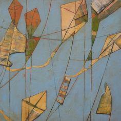 Kites www.heatherbentz.com #arttomakeyouhappy Art for home, art for office by contemporary artist Heather Bentz #kites #acryliconpanel #goldenacrylic #collage #heatherbentzart #originalart #contemporaryart