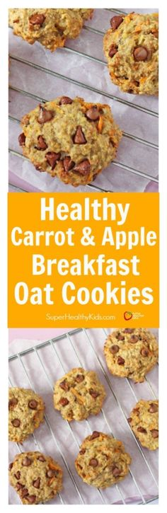 Healthy Carrot & Apple Breakfast Oat Cookies. Healthy oat breakfast cookies made with both fruits and veggies! No added sugar and perfectly delicious for an on the go breakfast! http://www.superhealthykids.com/healthy-carrot-apple-breakfast-oat-cookies/
