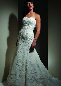 Discount 2014 Alencon Lace With Swiss Dotted Tulle Strapless Delicate Bridal Dress Online