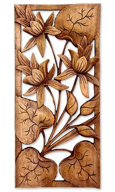 Hand Crafted Wood Floral Relief Panel, Love Lotus - Tray Tutorial and Ideas Wood Carving Designs, Wood Carving Patterns, Wood Carving Art, Intarsia Wood Patterns, Wood Sculpture, Wall Sculptures, Intarsia Holz, Mural Art, Wall Art