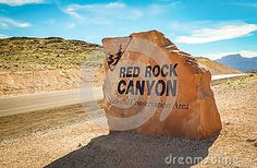 Sign indicating the entrance to the Red Rock Canyon located in the Nevada Desert, close to Las Vegas, USA. An area of outstanding beauty enjoyed by tourists and locals alike.