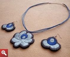 Necklace with a pair of earrings, with Hungarian folk motif. - JEWEL-SET-274